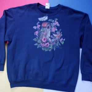 Vintage Women's Bird House Floral Crewneck Sweater
